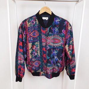 Vintage Patterned Silk Bomber Jacket